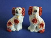 Small Pair of 19th Century Staffordshire Pottery Russet and White Spaniels c1880